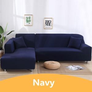 Image 5 - Одноцветные Угловые чехлы для диванов для гостиной эластичные спандекс секционные чехлы для диванов растягивающееся полотенце для диванов