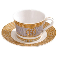 Porcelain coffee set bone china H mark mosaic design outline in gold European Coffee cup & saucer set coffee Cup set