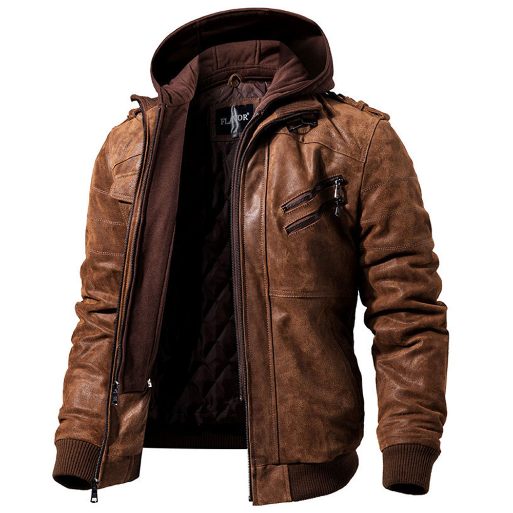 Mens Real Leather Jacket Men Motorcycle Removable Hood Winter Coat Men Fashion Warm Genuine Leather Jackets Male Leather Jacket