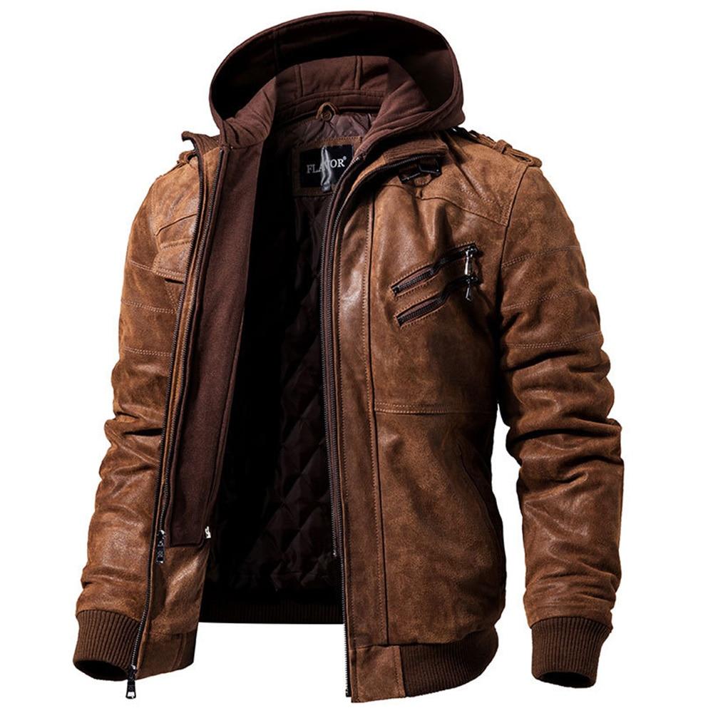 Mens Real Leather Jacket Men Motorcycle Removable Hood Winter Coat Men Fashion Warm Genuine Leather Jackets Male Leather Jacket