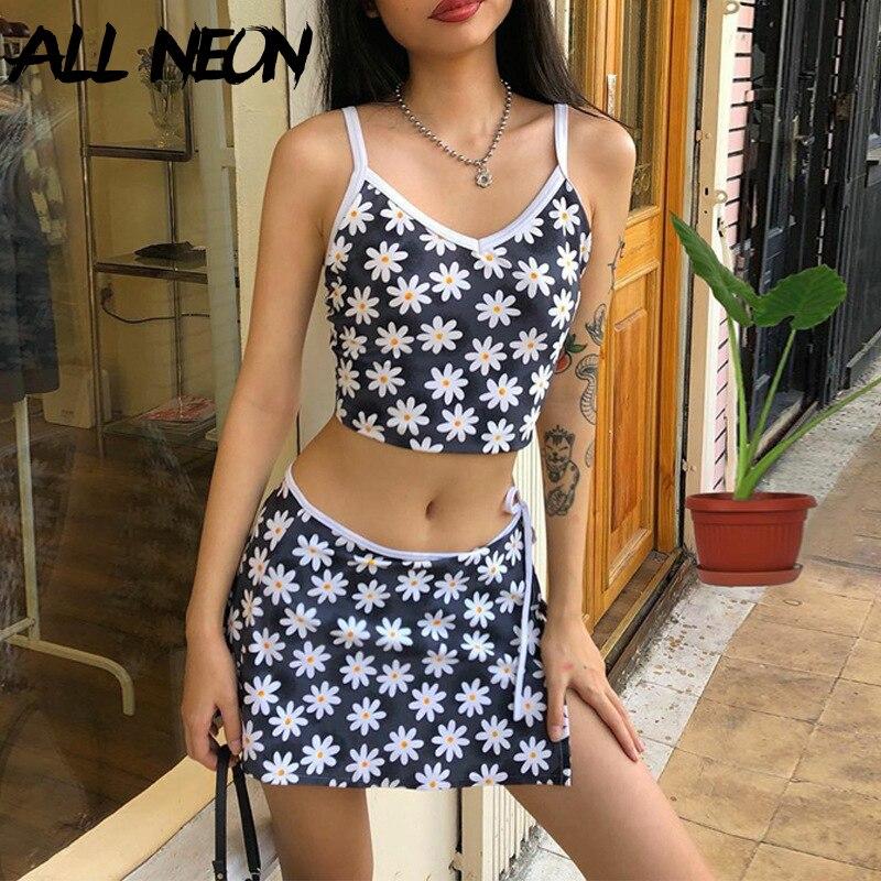 ALLNeon 90s Vintage Floral Sleeveless Tanks Top And Bandage Slit Hem Mini Skirt 2 Piece Suits Sweet E-girl Summer Matching Sets