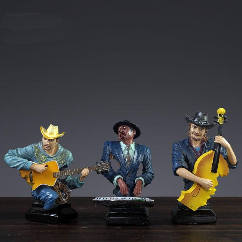 Statue de décoration de groupe de rock européen et américain clavier de guitare classique ornements de sculpture de chanteur errant - 2
