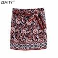 Zevity 2021 для женщин в винтажном стиле позиции с выгравированным тотемным цветком печати юбка саронг Faldas Mujer женские сторона с галстуком-бабоч...