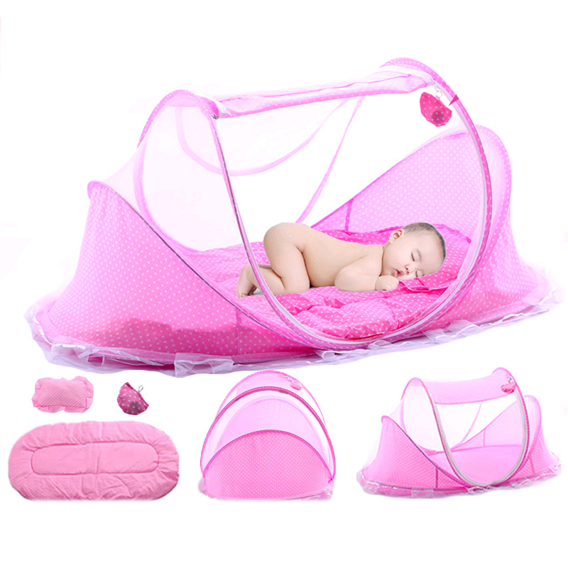 Portable Baby Toddler Travel Bed With Pillow Mat Set For Baby Bedding Sleep Folding Baby Crib With Mosquito Net 0-3years