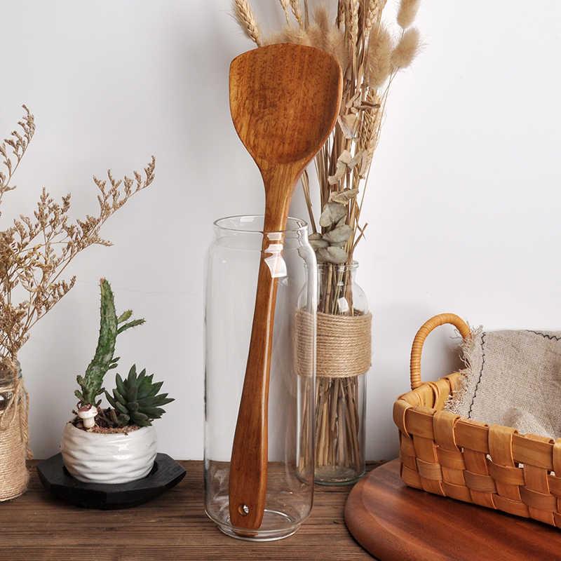 1 шт. деревянная Лопата шпатель вок ручной работы ложка антипригарная кухонная лопатка для кухни прочная