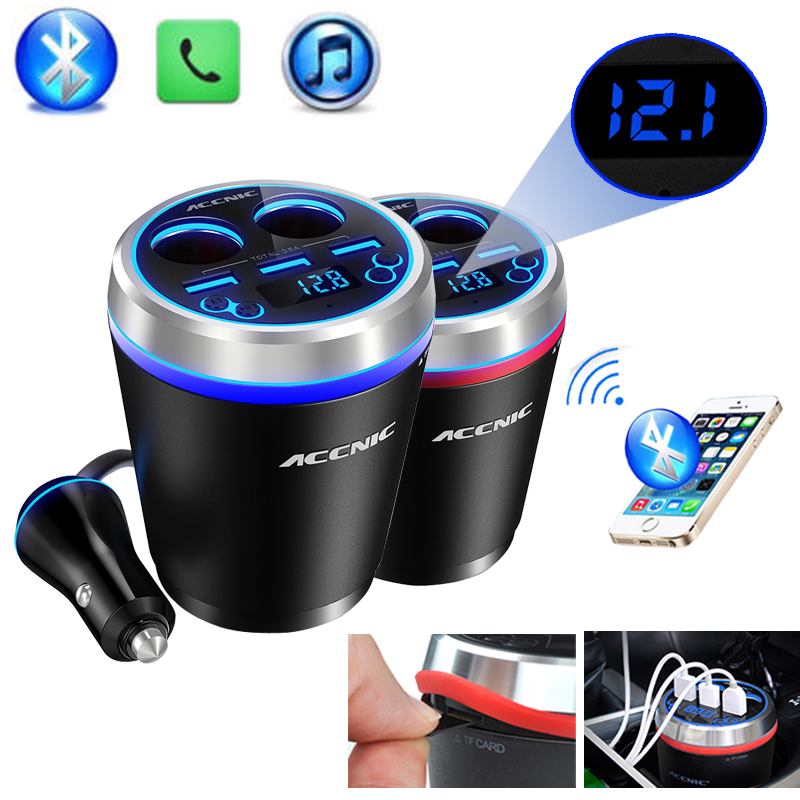 Accnic C1 TF/Miscro SD Music MP3 Player Handsfree Bluetooth Car Kit FM Transmitter Support SD U disk image