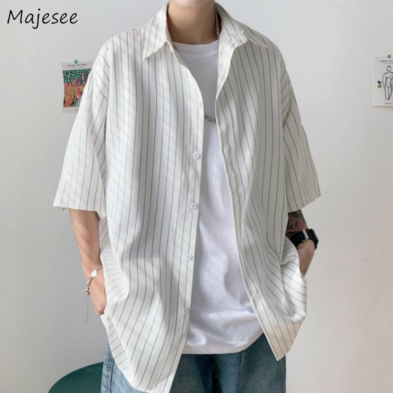 Men Shirts Striped Half-sleeve Thin Summer Plus Size 3XL Loose Korean Chic Leisure Mens Shirt Quick Dry Ins All-match Students