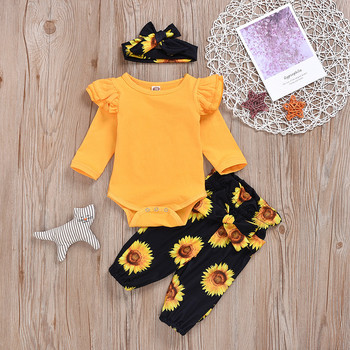baby girl clothes newborn toddler baby girls rompers lace floral overall outfits sunsuit clothes Toddler Baby Girls Romper Newborn Baby Solid Ruffle Rompers With Sunflower Floral Pants Clothes Headband Outfits Set #LR4