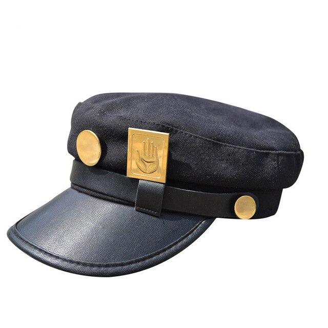 Dessin animé JOJO JoJo aventure Bizarre casquette Cosplay Jotaro Kujo accessoires Cosplay chapeaux armée militaire casquette plate Badges Anime autour