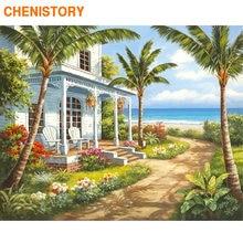 Chenistory Рамка diy Краска по номерам кокосовое дерево морю