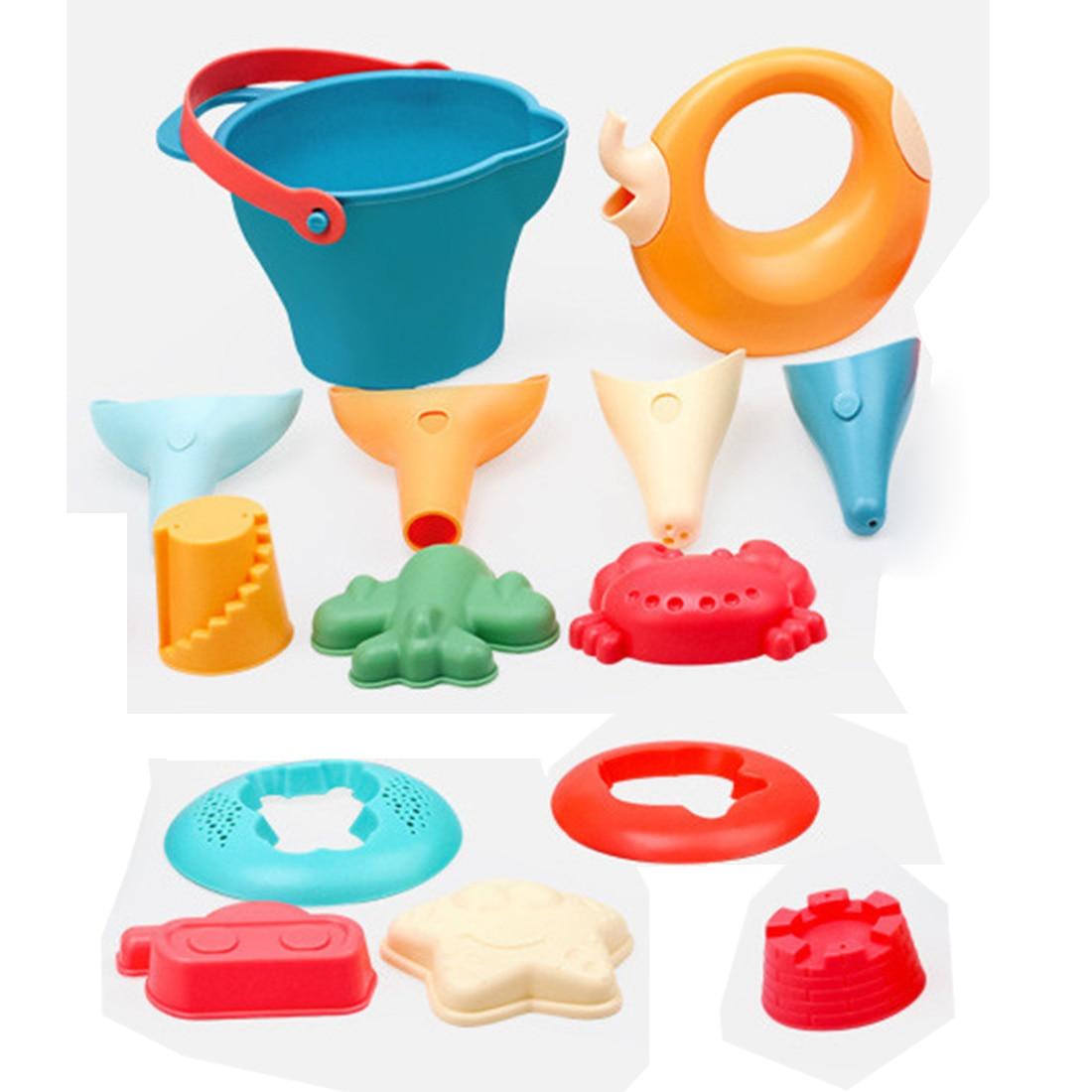 2020 Summer 14Pcs/set Soft Rubber Outdoor Beach Sand Toys Beach Bucket Playset For Kids Outdoor Fun Drop Ship