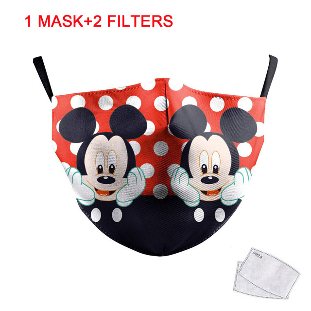 1pcs Cute Mouse Print Mask Kids Adult Washable Fabric Mask PM 2.5 Protective Reusable Dust Masks Cartoon Children Mouth-Muffle 1