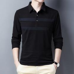 Ymwmhu Men Black Polo Shirt Striped Long Sleeve Autumn and Winter Thick Clothing Casual Warm Polo Shirt for Men Korean Tops