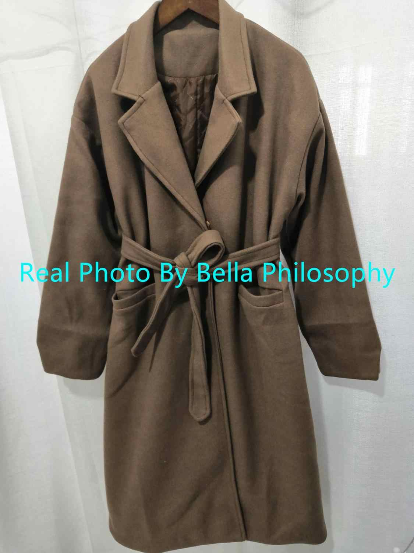 Bella filosofia 2019 outono inverno ol feminino cinto casaco turn-down colarinho feminino lã casaco senhoras solto sólido grosso jaquetas