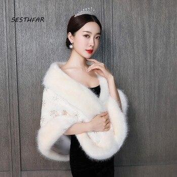 Wedding Jackets Thick Bridal Wraps Shawls Warm Faux Fur Women Female Wedding Accessories PJ063