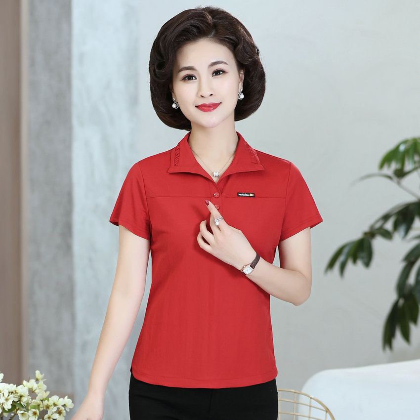 Summer Red Pink Purple Cotton POLO Shirt Women Turn Down Collar Short Sleeve Four Button Design Tops 2021 New Arrival Clothes
