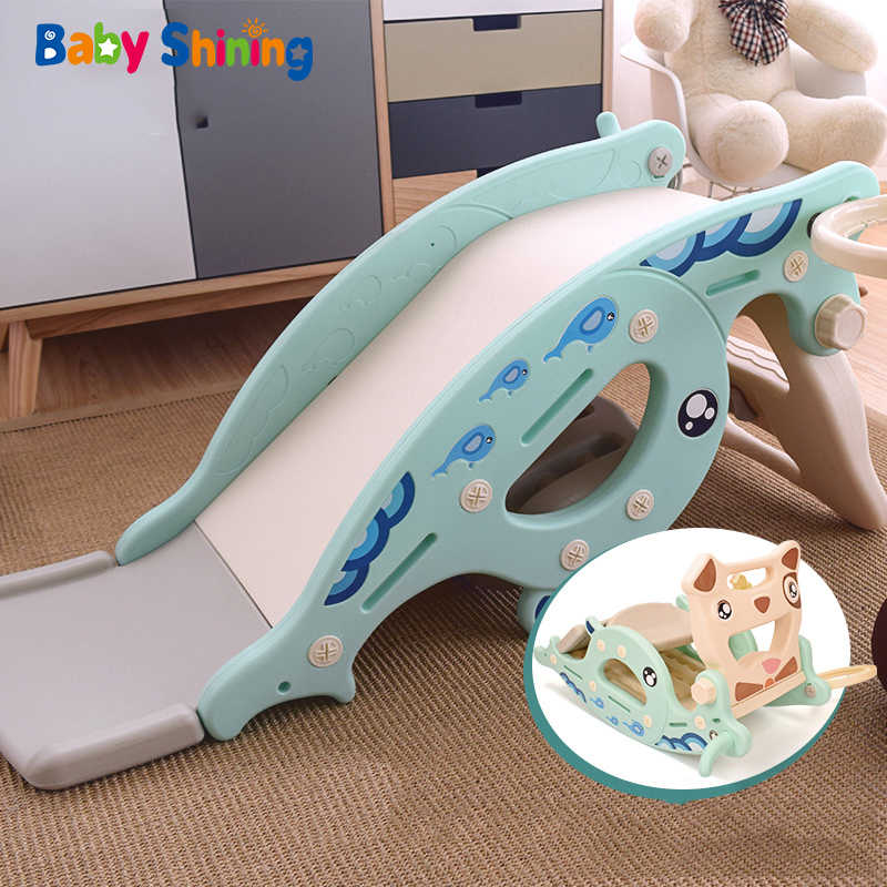 Baby Shining 4 in 1 Slides Rocking Horse for Kids Baby Toys Multifunction Birthday Gift Think Plastic Non-toxic Odorless