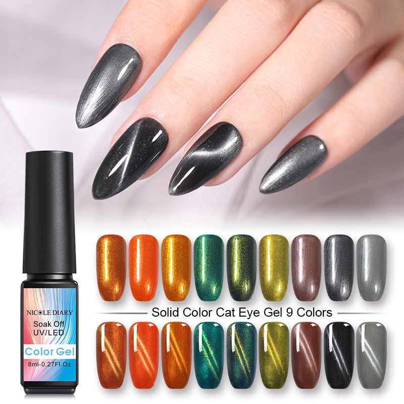 Nicole Buku Harian 8 Ml Cat Eye Gel Magnetic Uv Gel Nail Varnish Magnet UV LED Lamp Gel Varnish Seni dekorasi