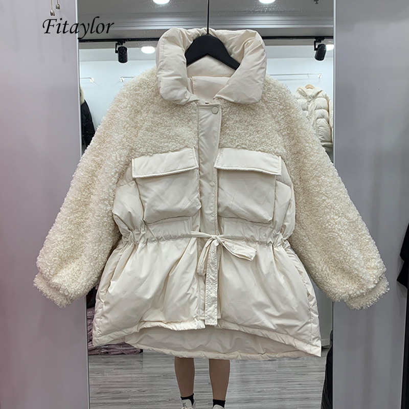 Fitaylor Winter Down Jackets Women Warm Patchwork Lambswool White Duck Down Parka Loose Streetwear Thickness Sash Tie Up Outwear