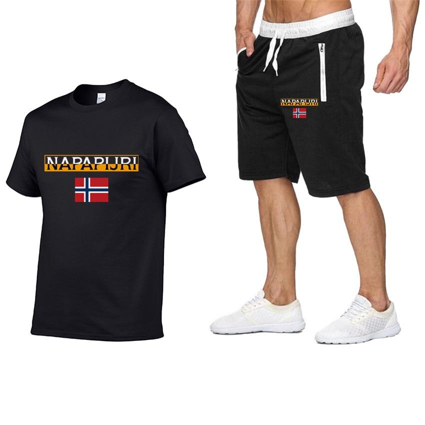 2020 Spring Sale Hip-hop Men And Women Printed T-shirt 100% Cotton + Shorts Beach Leisure Sports Jogging Men Two-piece Set