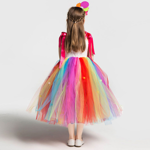 Image 3 - Girls School Performance Costumes Kids Rainbow Candy Knitting Dress Children Lollipop Modeling Tulle Ball Gown With Headband