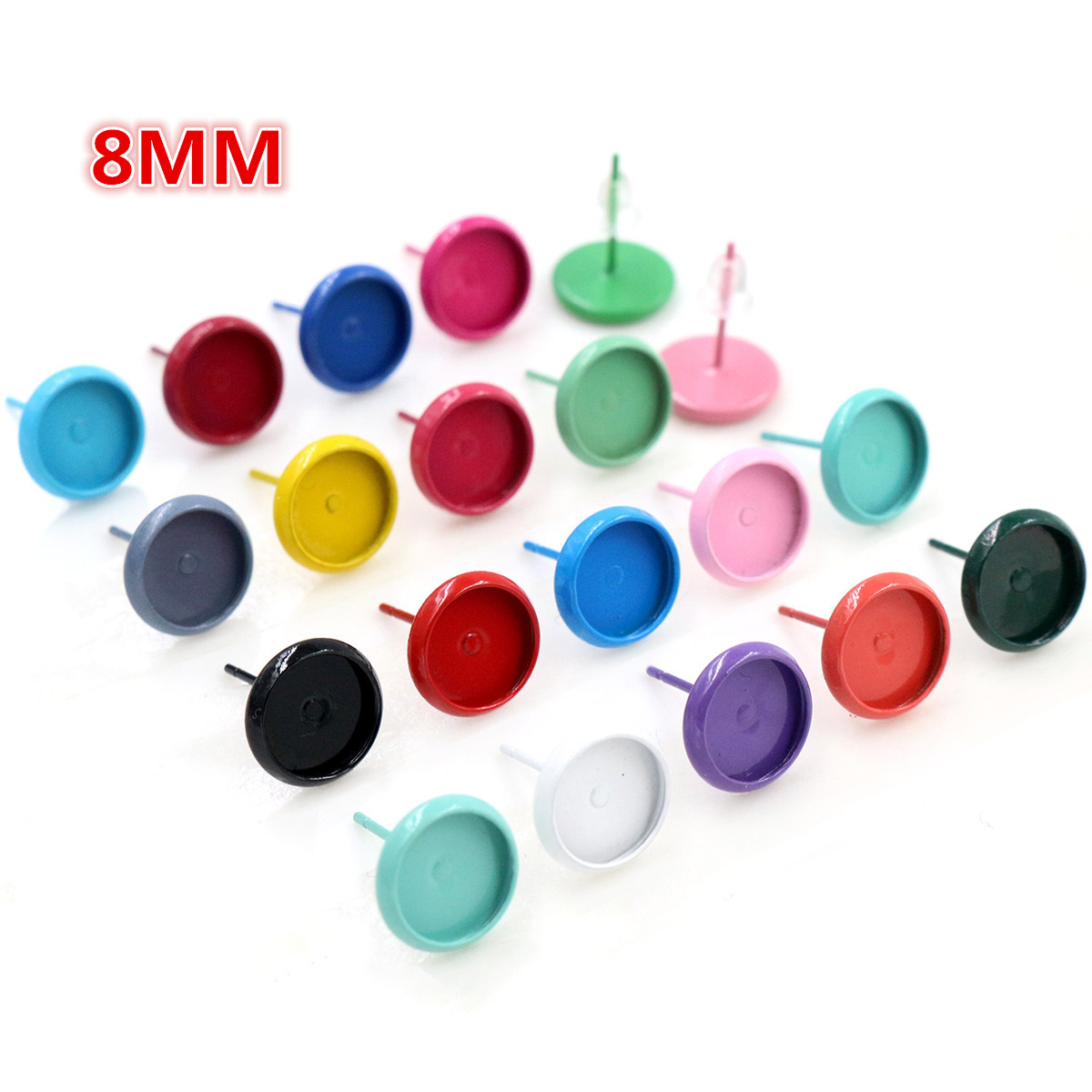 (New Colors) 8mm 20pcs/lots 21 Colors Plated Earring Studs,Earrings Blank/Base,Fit 8mm Glass Cabochons,earring Setting