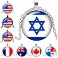 Neue Nationale Flagge Vereinigten Staaten Israel Kanada Britischen Frankreich Halskette Schmuck Anhänger Kristall Konvexen Runde Glas Halskette Geschenk