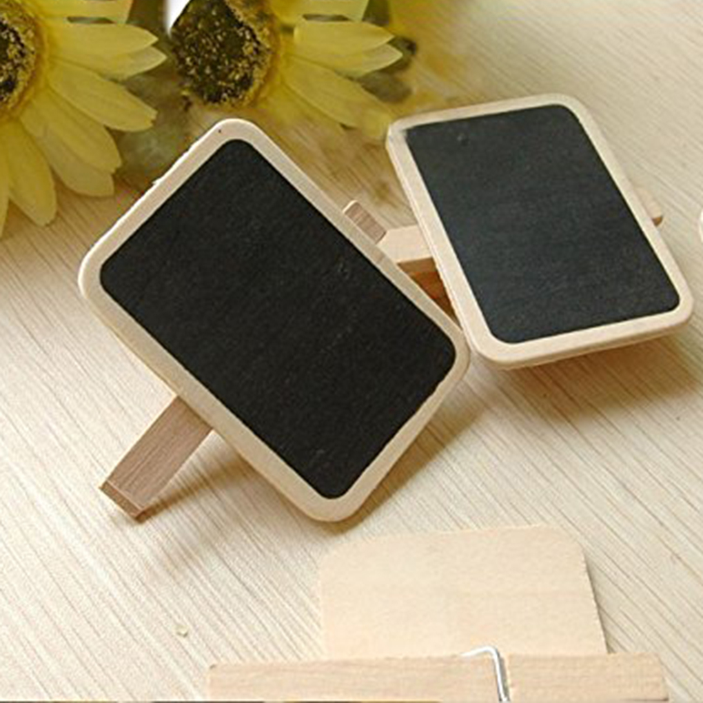 ZHUTING 10pcs Mini Wooden Blackboard Clamps Note Retangle Chalkboard Clip Tag Message Board For Wedding Party Paper Photo DIY