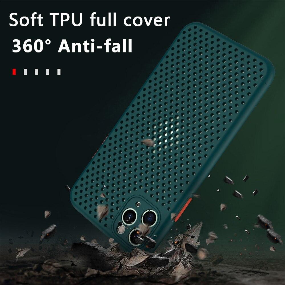 Soft TPU Breathable Cooling Case for iPhone 12 11 Pro Max XR XS Max X SE 2020 8 7 6S Plus Plain Color Heat Dissipation Case