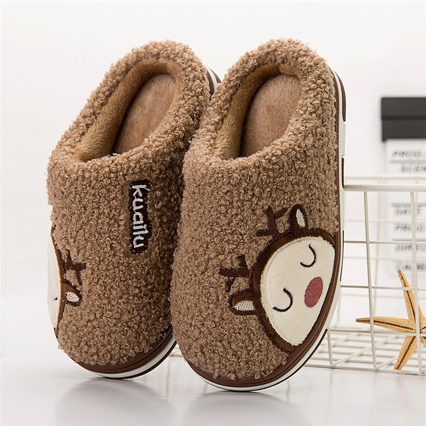 Slippers Cute Cartoon Deer Non-slip Winter Slippers Animal Women Children Infant Kids Baby Girls Boys Warm Home Casual Shoes 30