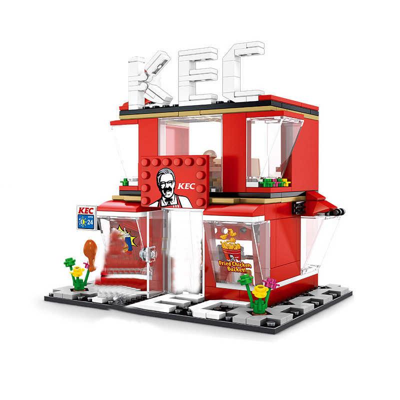 Blocchi di Costruzione Blocchi giocattolo Mini Strada di Città Coffee Shop Hamburger Negozio Città Mattoni Fai Da Te Giocattoli Compatibile Neri Per Il Regalo Dei Bambini