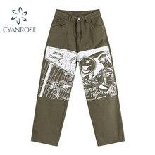 Pantalones vaqueros de pierna ancha con estampado de personaje para mujer, vaqueros de cintura alta a la moda, ropa de calle Retro, pantalones casuales rectos ropa BF 2021
