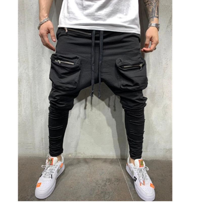 Man Pants New Fashion Streetwear Stitching Color Joggers Hip Hop Long Pants Men Elastic Waist Multi-pocket Jogger Pants