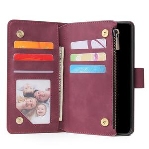 Image 4 - Luxe Zipper Wallet Card Case Voor Samsung Galaxy S10 S20 S9 S8 Plus S10e Note 9 10 Pro Flip Cover stand Multi Slots