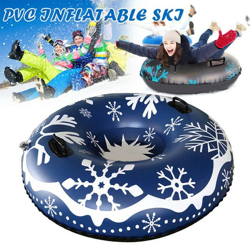 Inflatable Ski Ring Thickening Cold Resistant Winter Ski Circle With Handle Children Adult Outdoor Snow Tube Skiing Accessories
