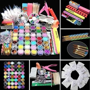 Kit de paillettes de poudre acrylique manucure gemmes décoration cristal strass brosse outils Kit Kit d'art des ongles ensemble professionnel