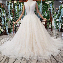 BGW HT42115 Simple Beach Wedding Dresses Brush Train V neck Sleeveless A line Wedding Dress Mariage Vestido De Noiva Princesa