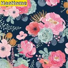 HaoHome Peel and Stick Modern Floral Wallpaper Pink/Green/Navy Blue/Orange Vinyl Self Adhesive Contact Paper Home Decor