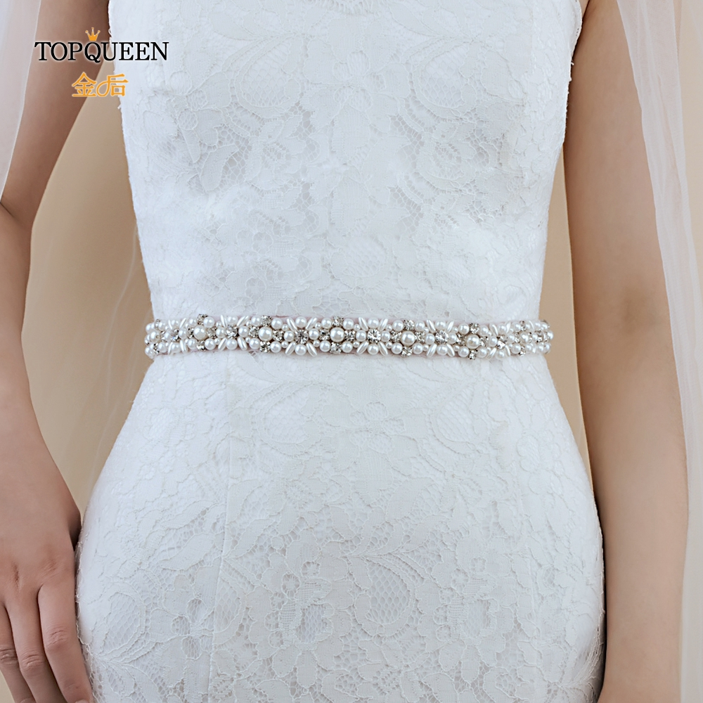 TOPQUEEN S380 Bridal Satin Belts  For Wedding Dresses With Rhinestones And Pearls Wedding Belt Thin Rhinestone Belt For Girls
