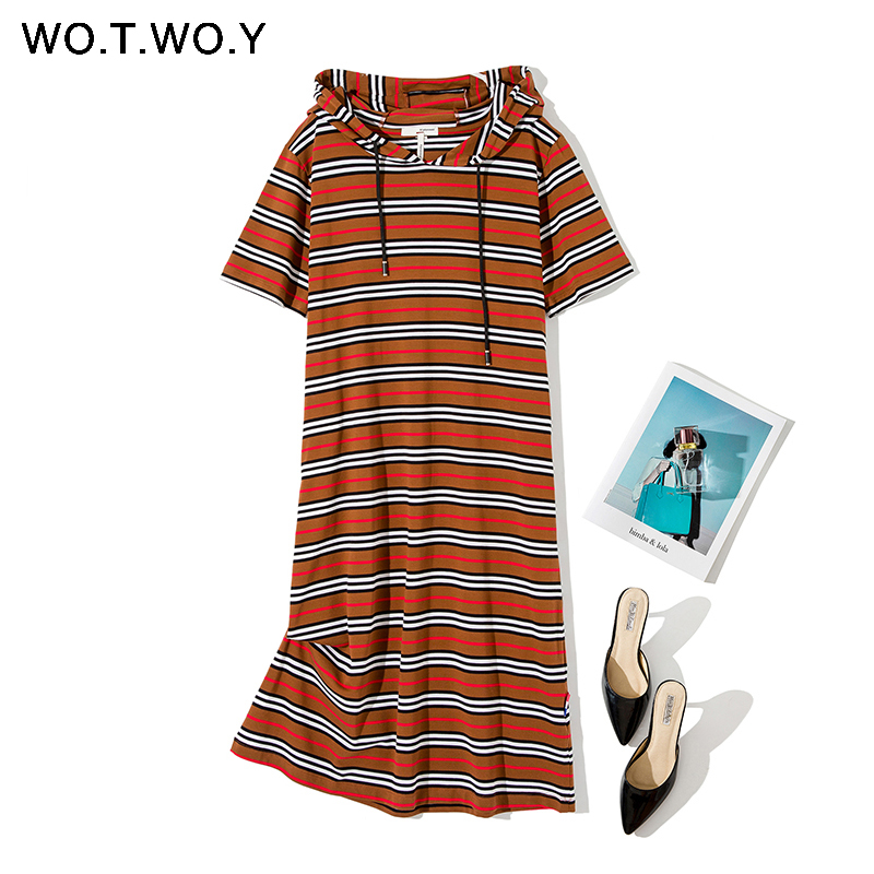 WOTWOY Spring Cotton Knit Dress Women 2020 Hooded Striped Mid-Calf Straight Pockets Women Dress Casual ShortSleeve Women Clothes