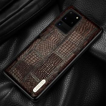 Retro Splice Genuine Leather Case For Samsung Galaxy S20 Ultra S20 FE S8 S9 S10 Plus A50 A70 A71 A51 Note 20 10 9 M31 M51