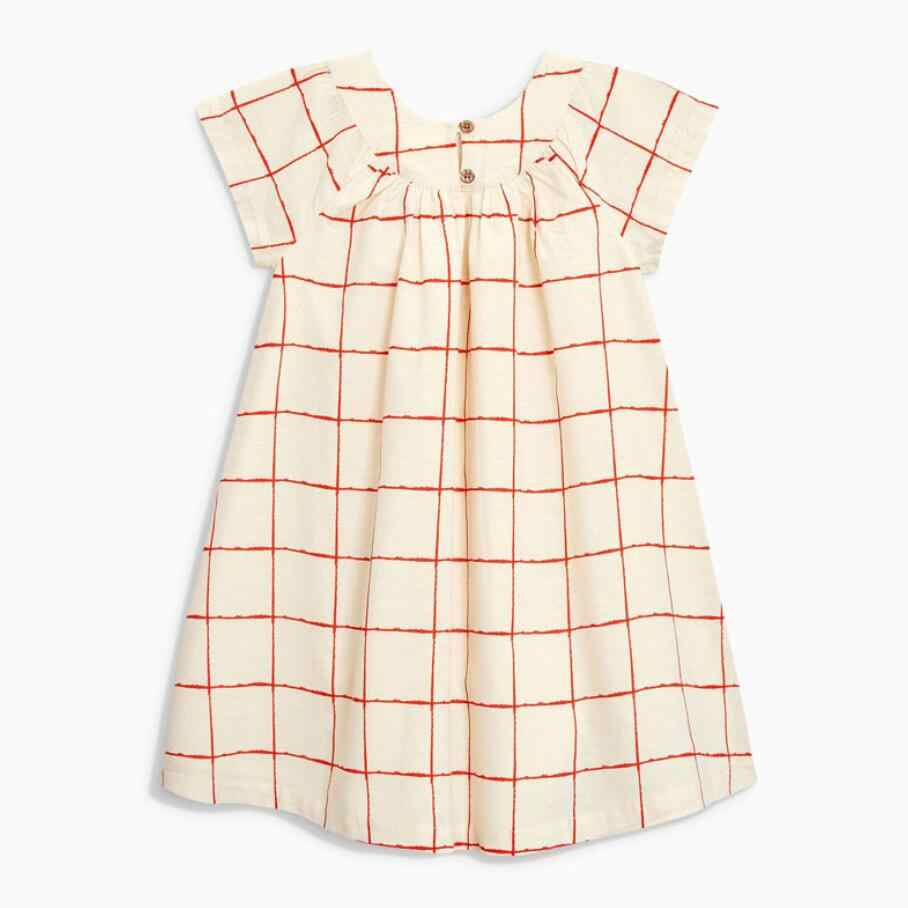 Little maven 2020 new summer baby girls clothes brand dress kids cotton plaid short sleeve button dresses S0689