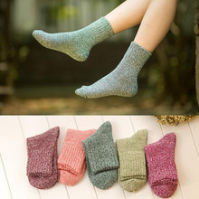 5 Pairs Of Women Wool Cashmere Thick Winter Warm Soft Solid Color Casual Sports Socks M1005