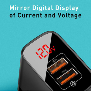 Image 5 - Baseus 18W USB Ladegerät Schnell Ladung 3,0 Tragbare Telefon Ladegerät Digital Display Reise Wand Ladegerät EU UNS Adapter Für iP ForXiaomi