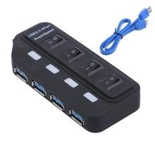 цена на 4-Port USB 3.0 Hub With Switch LED Indicator USB Splitter Adapter - L059 New hot