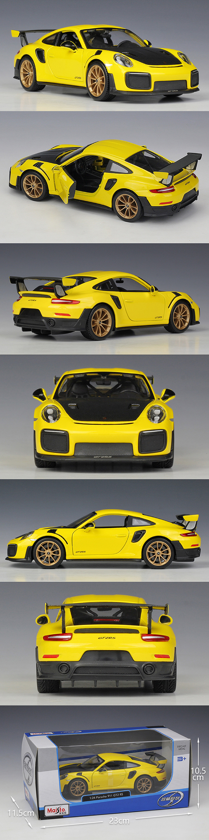 GT2 RS Yellow Diecast Model Car 6