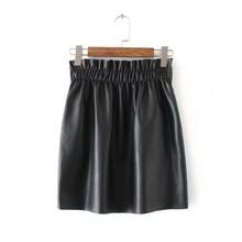 Green/Black/Yellow Empire Solid High Waist Pu Leather Skirts Female Spring Autumn Casual Elastic Waist A-Line Mini Skirts цена 2017