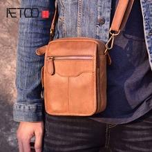 AETOO Small Genuine Cowhide Leather Mens Shoulder Bag Clutch Handbag Messenger Male Bags Crossbody Sling Tote Zipper
