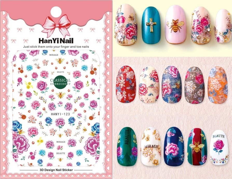 Ultra-Thin Japanese-style 3D Nail Decals With Gum Nail Sticker Nail Ornament HanYi121-123