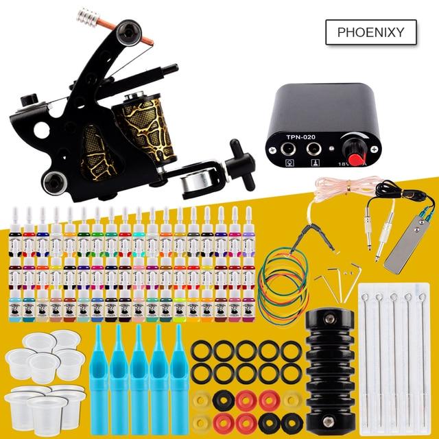 Стартовый набор для тату-машинки, 1 Катушка, пистолеты, 20 цветов, пигментные чернила, наборы, черная сила, тату, для начинающих, ручка, набор, П...